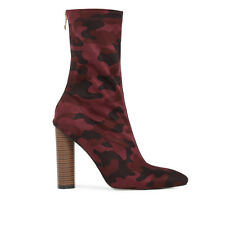 Womens Chunky Pointed Toe Block Heel Camo Ankle Boots in Dark Red Bordeaux 3-8