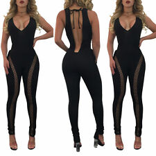Ladies Sexy Open Back Lace Up Hollow Out Bandage Jumpsuit 2017 Playsuit Clubwear