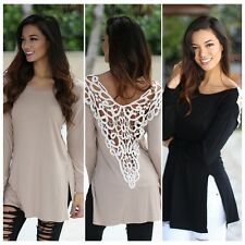 Stylish Ladies Women Long Sleeve Lace Hollow Out Patchwork Casual Loose Top 35DI