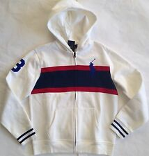 $60 NWT Boys Polo Ralph Lauren Big Pony Full Zip Fleece Rugby Hoodie White L