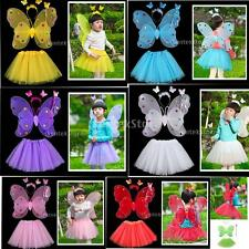 MagiDeal 4Pcs Fun Play Butterfly Wings Magic Wand Fairy Costume Set Many Colours