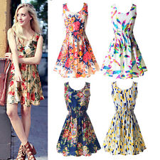 Women's Sleeveless Tank Mini Dress Summer Beach Chiffon Floral Pleated Sundress