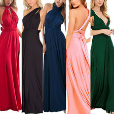 Fashion Womens Wrap Bridemaid Evening Party Wedding Full Length Maxi Long Dress