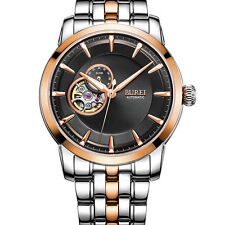 BUREI Luxury Rose Gold Date Day Stainless Steel Automatic Mechanical Mens Watch