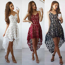 Women Ladies Lace Sleeveless Mini Dress Evening Cocktail Party Club Sexy Dress