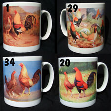 OLD ENGLISH GAME POULTRY MUGS... Gold Duckwing, Fig Pudding, Blk Red...