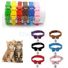 Adjustable Puppy Kitten Cat Safety Collar Walking Buckle Strap with Bell 30cm