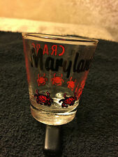 Shot Glass Barware Collectible Souvenir Maryland is for Crabs Red