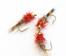 Hares Ear Orange Collar Nymphs Wet Trout Fly Fishing Flies size options