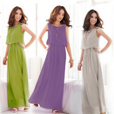 Fashion Women Formal Party Pleated Wave Boho Chiffon Maxi Long Dress Prom Gown