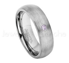 0.07ct Amethyst Solitaire Ring, February Birthstone, 6mm Dome Tungsten Ring #060