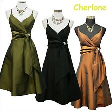 Cherlone New Satin Prom Ball Party Gown Cocktail Bridesmaid Formal Evening Dress