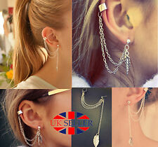 Women Fashion Silver Leaf Chain Tassel Dangle Ear Cuff Earring Jewellery UK