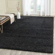 LARGE THICK 5cm PILE BLACK PLAIN MODERN NON-SHED SOFT SHAGGY RUG ROOM CARPET NEW