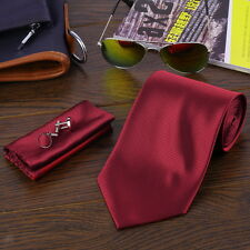 Fashion Mens Solid Neck Party wedding Tie Necktie Tie Hanky Cufflink Set BS