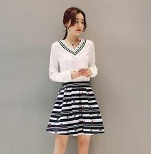 Women's Tops Long Sleeve Chiffon Shirt Pullover Blouses Striped Bust Skirt 2PC