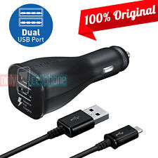 OEM Samsung Fast Charge Dual-Port Car Charger Data Cable for Galaxy S7 S6 Note5