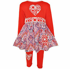 AnnLoren Girls Boutique Red Heart Knit Dress with Legging Outfit 12/18 mo - 9/10