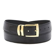 Bonded Leather Belt HORNBACK Pattern Solid Colors Gold-Tone Buckle XL Sizes