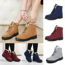 Womens Winter Warm Bootie Faux Suede Fur Lace-up Ankle Boot Snow Shoes Anti-slip