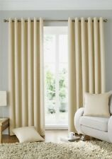 WOVEN JACQUARD SQUARES CREAM LINED RING TOP CURTAINS DRAPES 9 SIZES