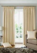 WOVEN JACQUARD SQUARES CREAM LINED PENCIL PLEAT CURTAINS 9 SIZES