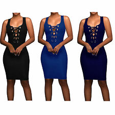 New Womens Sexy Party Dresses Hollow Out Bandage V Neck Midi Cocktail Club Dress