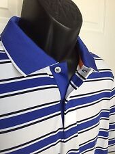 NEW RLX Golf Active Fit Performance Polo by Ralph Lauren MSRP $89.50 Blue Stripe