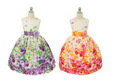 New Girls Dress Easter Wedding Party Pageant Floral Birthday Cotton Summer 303