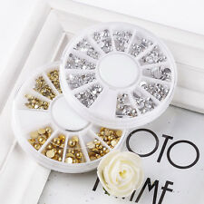 Top Nail 1 Wheel 3D Nail Art Resin Gold Silver Half Ball Decoration ZP291