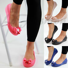 New Womens Comfy Concealed Low Wedge Heel Jelly Bow Dolly Flat Shoes Sizes