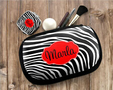 Personalized Monogrammed Zebra Cosmetic Makeup Small Device Bag & Mirror Set