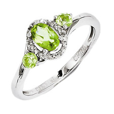925 Sterling Silver Peridot and Diamond Oval Cut Ring - 0.671cttw
