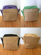 Eco friendly jute toiletry / make-up bag or large pencil case choice of colours