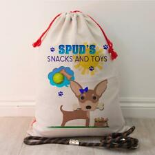 Personalised Chihuahua Dog Pet Treat Bag Puppy Toy Tidy Storage Gift Sack