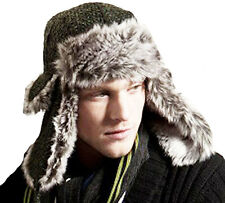 New Mens Womens Unisex ALBURY BOUCLE Fur Trimmed Warm Thermal Winter Trapper Hat