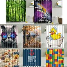 Waterproof Polyester Bathroom Shower Sheer Curtain Panel Decor with 12 Hooks