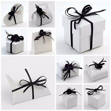 Luxury DIY Wedding Party Favour Gift Boxes - Pure Gloss Brilliant WHITE GLOSSY
