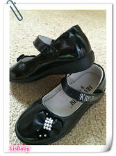 Black Girl Child Leather School Party Shoes【CLOSING DOWN SALE】New - LAST 2