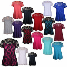 New Womens Plus Size Floral Lace Lined  Party Tunic Top 14-28
