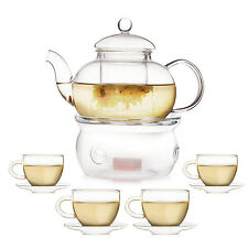 2 Styles Clear Glass Teapot Tea Set Infuser Warmer Handle Cup Saucer Double Wall