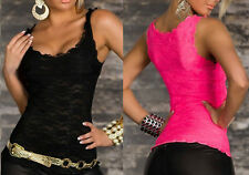 Women Sexy Solid Lace Perspective Slim Sleeveless Fit Tops Tank Vest Camisole gg