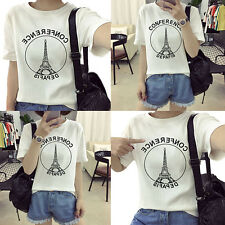 Tower round neck Girls short sleeves T-shirt Summer Korean version 1X Blouse