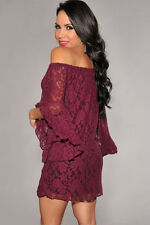2017 Sexy Fashion Womens Lace Loose Long Sleeve Cocktail Party Casual Mini Dres