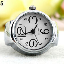 Lady Girl Chic Stainless Steel Round Elastic Quartz Finger Ring Watch Gracious