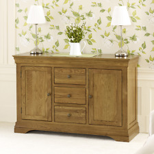 French Louis Oak Large Sideboard - Solid 3 Drawer Kitchen Dining Furniture  FL20