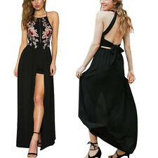 Dress Embroidery Women Chiffon Party Halter backless Summer vintage dress