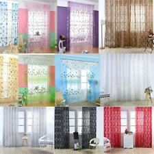 Flower Floral Tulle Voile Window Curtain Drape Panel Sheer Scarf Valances Decor