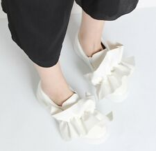 Oversized Ruffle Bow Skate Slip-Ons Loafers Faux Leather Black Gold Sneakers