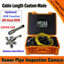 "7"" TFT Monitor 1000TVL Sewer Pipe Sonde Inspection Camera System DVR Recording"